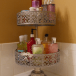 Cake Stand Used As a Bathroom Organizer