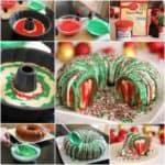 Rainbow Christmas Wreath Cake Recipe
