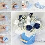 Baby Socks Rose Flower Bouquet (Tutorial)