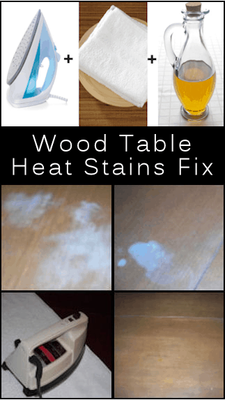 how to remove white heat stains on wood table our home. Black Bedroom Furniture Sets. Home Design Ideas