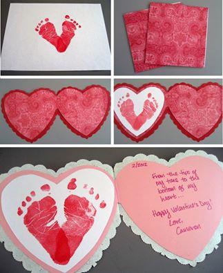 Baby Footprints heart card