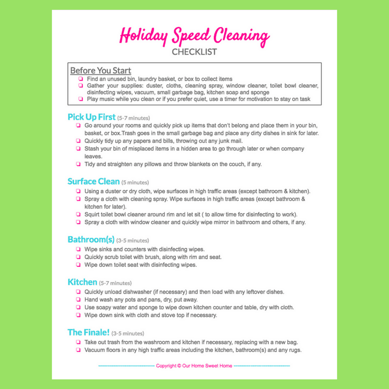 Holiday Speed Cleaning Checklist