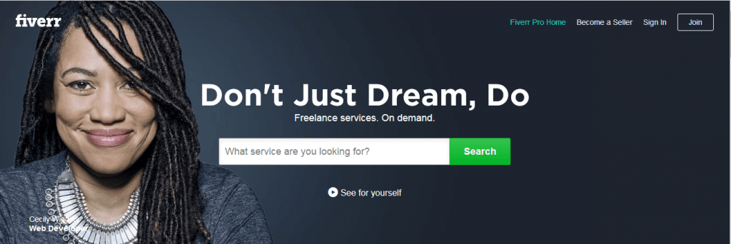 Online Jobs on Fiverr, banner