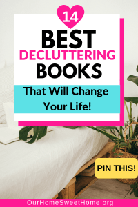 best decluttering books available, book on bed