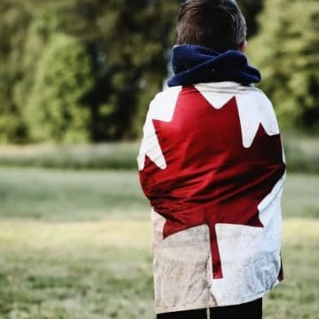 homeschool ontario, pic of boy with Canadian flag