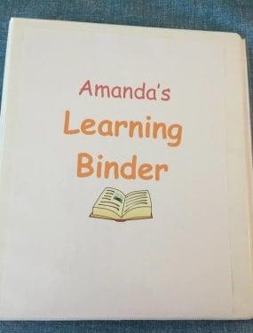 2 year old homeschool binder, pic of binder