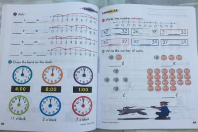 Math K workbook review, pic of workbook